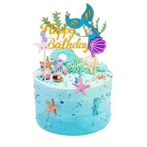 SULOLI 1 Pack Mermaid Cake Topper Happy Birthday Cake Decoration for Boys Girls Adults Mermaid Party Supplies 51rAEHj6rrL