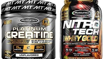 Muscletech Essential Series Platinum Creatine– 400g and Muscletech Performance Series Nitrotech Whey Gold 2.24lbs (1.02kg) (Double Rich Chocolate)