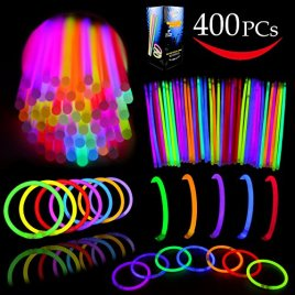 "Joyin Toy Tube of 400 8"" Glowsticks; Glow Stick Bracelets; Glow Necklaces Party Favors Pack with 400 Bracelet Connectors"