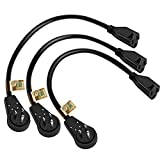 Nekteck Extension Cord, 3 Prong Power Cord 14AWG Extension Cable with 360 Degree Rotating Flat Plug, 3 Pack Short 1 Foot, UL Listed