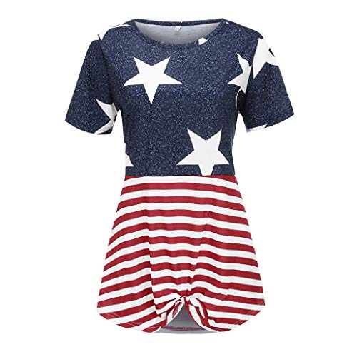 Aniywn Women Plus Size Patchwork American Flag Print Hem Knot T-Shirt Summer Short Sleeve Pullover Tops Blue