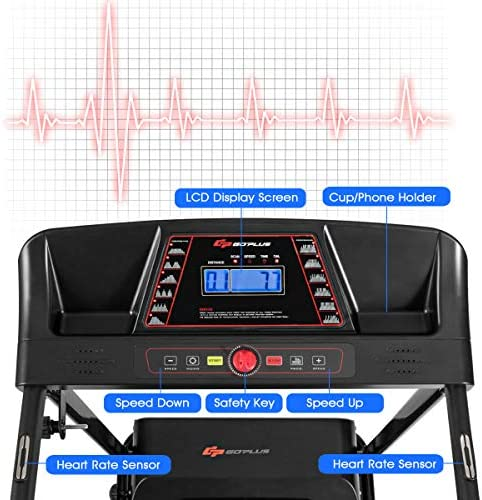 Goplus Electric Folding Treadmill, Adjustable Incline and Low Noise Design, with LCD Display and Heart Rate Sensor, Compact Running Machine for Home Use 2