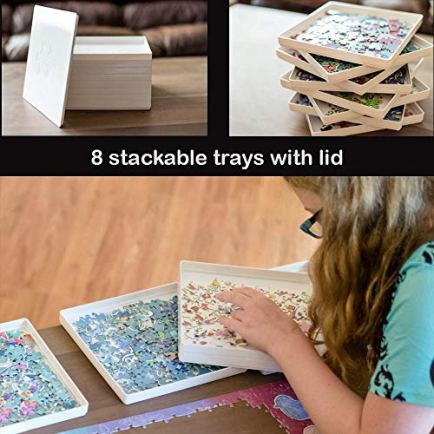 PUZZLE-EZ-8-Puzzle-Sorting-Trays-with-Lid-Jigsaw-Puzzle-Accessories-Portable-Sorter-Organizer-Holder-Fits-Up-to-1000-Pieces-Puzzle-Table-Space-Saver-Gift-for-Puzzle-Lovers