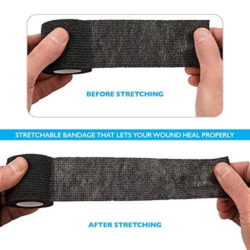 Self-Adherent Cohesive Bandage – 12 Pack Bulk | Black Self-Adhering Medical Wrap | 2″ Wide x 5 Yards Athletic Sports Tape Sweat & Water Resistant, First Aid deal 50% off 51rFj82PtHL