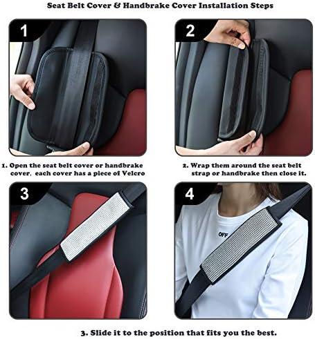 Valleycomfy Microfiber Leather Seat Belt Shoulder Pads with Bling Rhinestones Car Bling Seat Belt Covers for Women, Crystal Handbrake Cover, Bling Ring Set Bling Car Accessories 4 Pack Set Universal 15