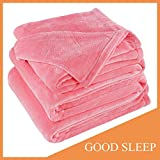 Sonoro Kate Fleece Blanket Soft Warm Fuzzy Plush Throw(60-Inch-by-43-Inch) Lightweight Cozy Bed Couch Blanket,Easy Care,Pink