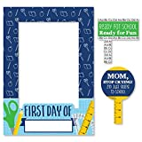 Colorful Back to School - First Day and Last Day of School Photo Booth Picture Frame & Props - Printed Double-Sided - 1 Frame & 2 Props