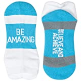Gone For a Run Inspirational Athletic Running Socks | Women's Woven Low Cut | Be Amazing | Blue