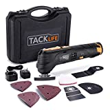 TACKLIFE 12V Cordless Oscillating Tool, 2,000 mAh Lithium-Ion, 6 Variable Speeds with LED, 1H Fast Charge, 23pcs Accessories, Great for Sanding Polishing Cutting Scraping Cleaning-PMT01B