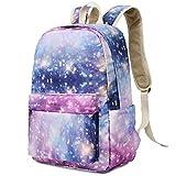 Teens Backpack for School Girls Bookbag Middle School Student Schoolbag Causal Travel Daypack (Star-Pink Purple)