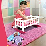 Wooden Baby Doll Rocking Cradle - Fits Baby Dolls and 18 Inch Dolls - Includes Mattress & Bedding