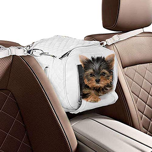 ZuGoPet Jetsetter Faux Leather Pet Carrier Handbag Purse Bag Dogs and Cats (Small (16-inch), Snow White)