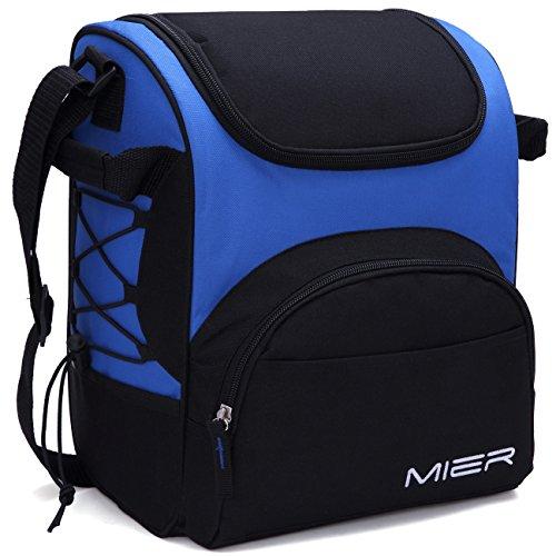 MIER Large Insulated Lunch Bag Reusable Lunch Box Picnic Cooler Bag for Men, Women, Adjustable Shoulder Strap (Blue)