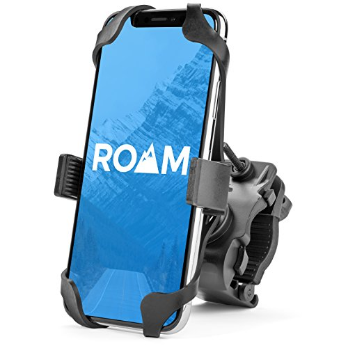Roam Universal Premium Bike Phone Mount for Motorcycle - Bike Handlebars, Adjustable, Fits iPhone X, XR, 8 | 8 Plus, 7 | 7 Plus, iPhone 6s | 6s Plus, Galaxy, S9, S8, S7, Holds Phones Up to 3.5' Wide