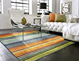Mohawk Home New Wave Rainbow Striped Printed Area Rug, 5'x8', Multicolor