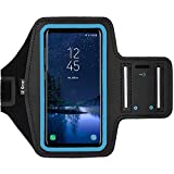 i2 Gear Cell Phone Armband for Running - Workout Phone Holder Case with Adjustable Arm Band Sleeve, Reflective - Compatible with Galaxy S9, S8, S7, S6, Edge and iPhone X, XS (Cyan)