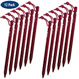 SOLEADER Tent Stakes Heavy Duty, Tent Pegs, 9 Inch, Aluminum, Utralight, Extra Long, for Camping Beach Hammock Tarp Shelter Cannopy (9, 12 Pack)