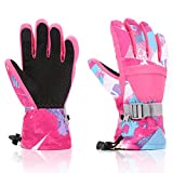 Ski Gloves, Yidomto Waterproof Warmest Winter Snow Gloves for Mens, Womens, Boys, Girls, Kids (Pink-M)