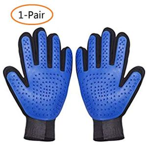 ANSLYQA Pet Deshedding Brush Glove Pet Grooming Glove Hair Remover Mitt Enhanced Five Finger Design Perfect for Cats,Dogs and Horses with Long & Short Fur,1-Pair 10