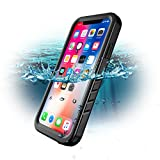 iPhone X/iPhone Xs Waterproof Case, SPORTLINK Waterproof Shockproof Snowproof Clear Slim Case for iPhone X/iPhone Xs (Black)