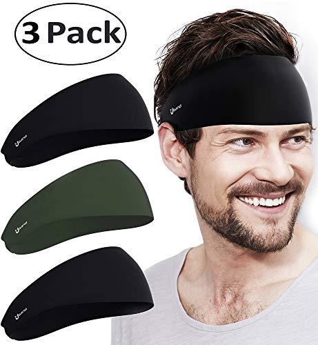 Self Pro Mens Headbands 3 Pack Guys Sweatband & Sports Headband for Running, Cross Training, Racquetball, Working Out - Performance Stretch & Moisture Wicking