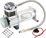 Vixen Horns 150 PSI Heavy Duty Train Horn/Suspension/Air Ride/Bag Air Compressor/Pump with 1/4' Stainless Steel Braided Hose and 1/4' NPT Check Valve 12V Chrome VXC8101