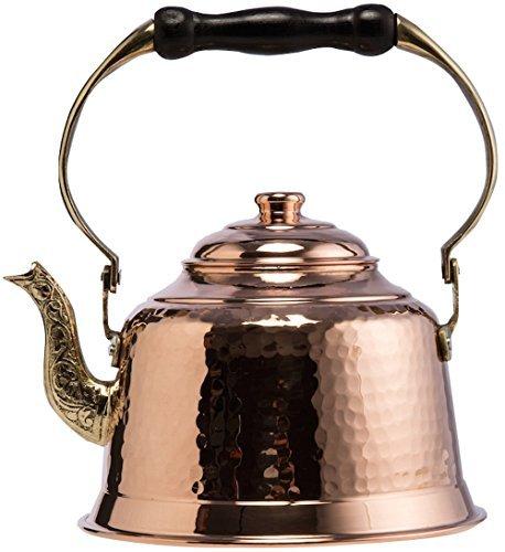 CopperBull Heavy Gauge 1mm Thick Hammered Copper Tea Pot Kettle Stovetop Teapot (1.6-Quart)
