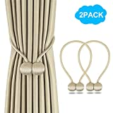 2 Pack Magnetic Curtain Tiebacks, The Most Convenient Drape Tie Backs, Decorative Rope Holdback Holder for holdbacks Big, Decorative Curtain Holdbacks (16 Inch Long), Beige