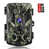 ABASK Trail Cameras 16MP 1080P Full HD Game Cameras with Night Vision Motion Activated, Hunting Camera 940nm 44 LEDs Wildlife Trail Surveillance Cam Bundle with 32G Card, Mounting Stand & Strap
