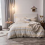 Merryfeel 100% Cotton Woven Seersucker Stripe Duvet Cover Set - King