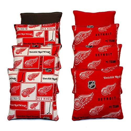 BackYardGamesUSA All Hockey Team's Set of 8 Cornhole Bags (Corn-Filled) (Red Wings)