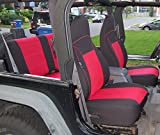 GEARFLAG Neoprene Seat Cover Custom fits Jeep Wrangler TJ 1997-02 Full Set (Front + Rear Set) (Red/Black)