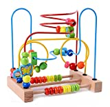 Lewo Wooden Baby Toddler Toys Circle First Bead Maze for Boys Girls