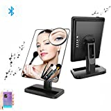 Makeup Mirror with Adjustable LED lights Rechargeable by Addprime, Wireless Audio Speakers, 180° Rotation, Removable 10x Magnifier Mirror, Build-in Led Light Bluetooth Vanity Mirror (Black)