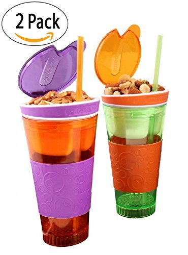Kids Travel Cups SNACKZ6-2 Snackeez Drink and Snack Holder