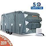 KING BIRD Upgraded Travel Trailer RV Cover, Extra-Thick 5 Layers Anti-UV Top Panel, Deluxe Camper Cover, Fits 24'- 27' RV Cover -Breathable, Water-Repellent, Rip-Stop with 2Pcs Straps & 4 Tire Covers