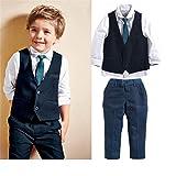 Aile Rabbit Boys Formal Dresswear 3 Pieces Vest Set Suit Wedding Pageboys Formal Outfit Blue