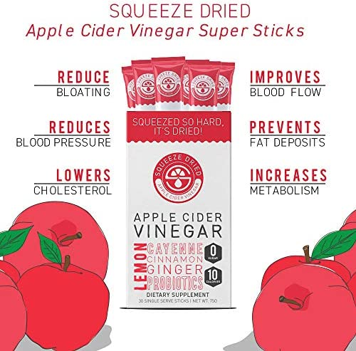 Squeeze Dried Apple Cider Vinegar: Inflammation, Digestion, Natural Detox, Bloating, Circulation with Probiotics - 30 Count Sticks 3
