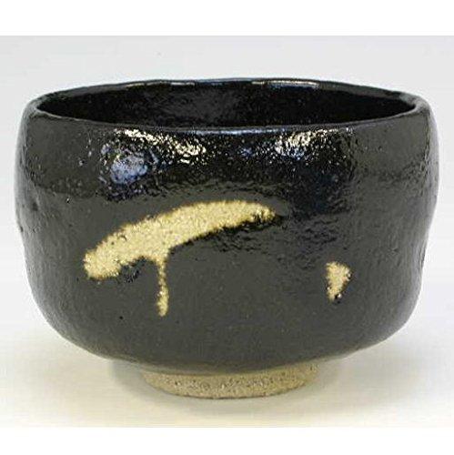 Kiyomizu-kyo yaki ware. Japanese Matcha chawan teabowl Kuro raku Shishi Leo with wooden box. Ceramic. kymz-TSS735