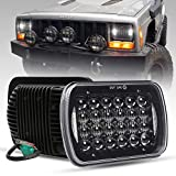 COWONE Cree 7'x6' 5x7 inch Black Projector LED Headlights for Jeep Wrangler YJ Cherokee XJ H6054 H5054 H6054LL 69822 6052 6053 2Pcs