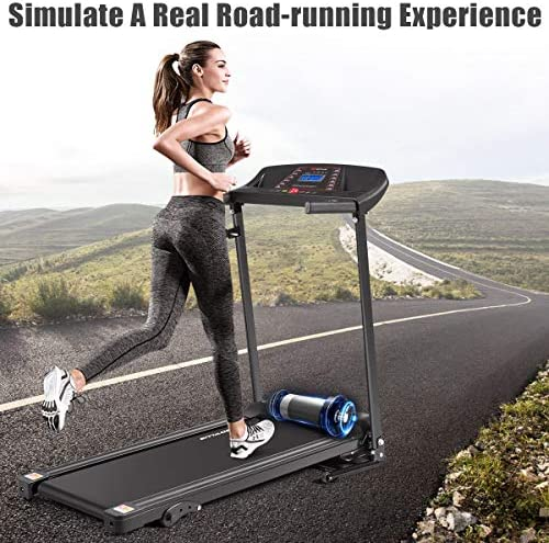 Goplus Electric Folding Treadmill, Adjustable Incline and Low Noise Design, with LCD Display and Heart Rate Sensor, Compact Running Machine for Home Use 8