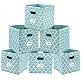 Cloth Storage Bins,Flodable Cubes Box Baskets Containers Organizer for Drawers,Home Closet, Shelf,Nursery, Cabinet, with Dual Plastic Handles, Blue with Lantern Pattern Set of 6