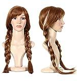 Anogol Hair Cap+Movie Cosplay Wig Brown Braid for Halloween Costume (Brown,1-Pack)