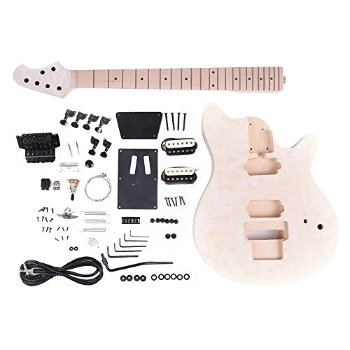 ammoon Unfinished DIY Electric Guitar Kit Basswood Body Fingerboard Maple Neck