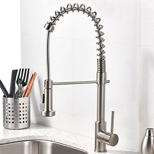 Best Kitchen Faucets Consumer Reports 1. Vccucine Best Modern Commercial Brushed Nickel Pull Out Sprayer Single Handle Kitchen Faucet Single Lever