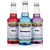Hawaiian Shaved Ice 3 Flavor Pack of Shaved Ice Syrup | Kit Features Top Snow Cone Syrup Flavors -Cherry, Grape & Blue Raspberry (16oz. Each)