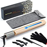 NITION Pro Upgraded Hair Straightener Argan Oil Tourmaline Ceramic Titanium Straightening Flat Iron for Healthy Styling,Digital LCD 265°F-450°F,2-in-1 Curing Iron for All Hair Type,Gold,1 inch Plate