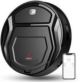 Robot Aspirador LEFANT M201, 1800Pa de 500 ml, con tecnología Sensor de colisión 6D Mejorado, Ideal para Pelo de Animales, alfombras y Suelos Duros, WiFi/Alexa/App, color Negro.