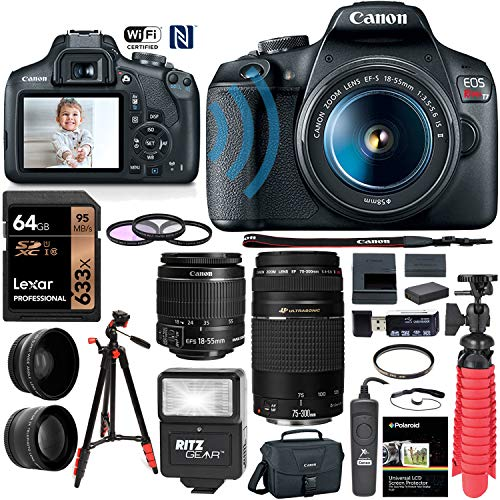 Canon EOS Rebel T7 DSLR Camera (Rebel T6 Successor) 18-55mm f/3.5-5.6 IS III, EF 75-300mm III, 58mm Professional Telephoto & Wide Angle Lens, 64GB U3, Canon Case, Spare Battery & More