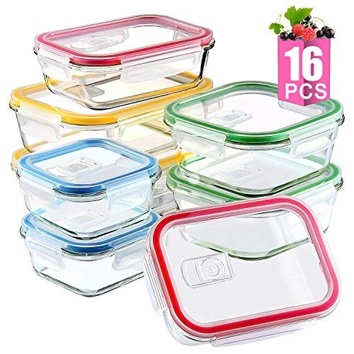 [16 Pieces]Glass Meal Prep Containers Airtight Lids-BPA Free, Assorted Size, Glass Food Storage Containers, Glass Lunch Containers